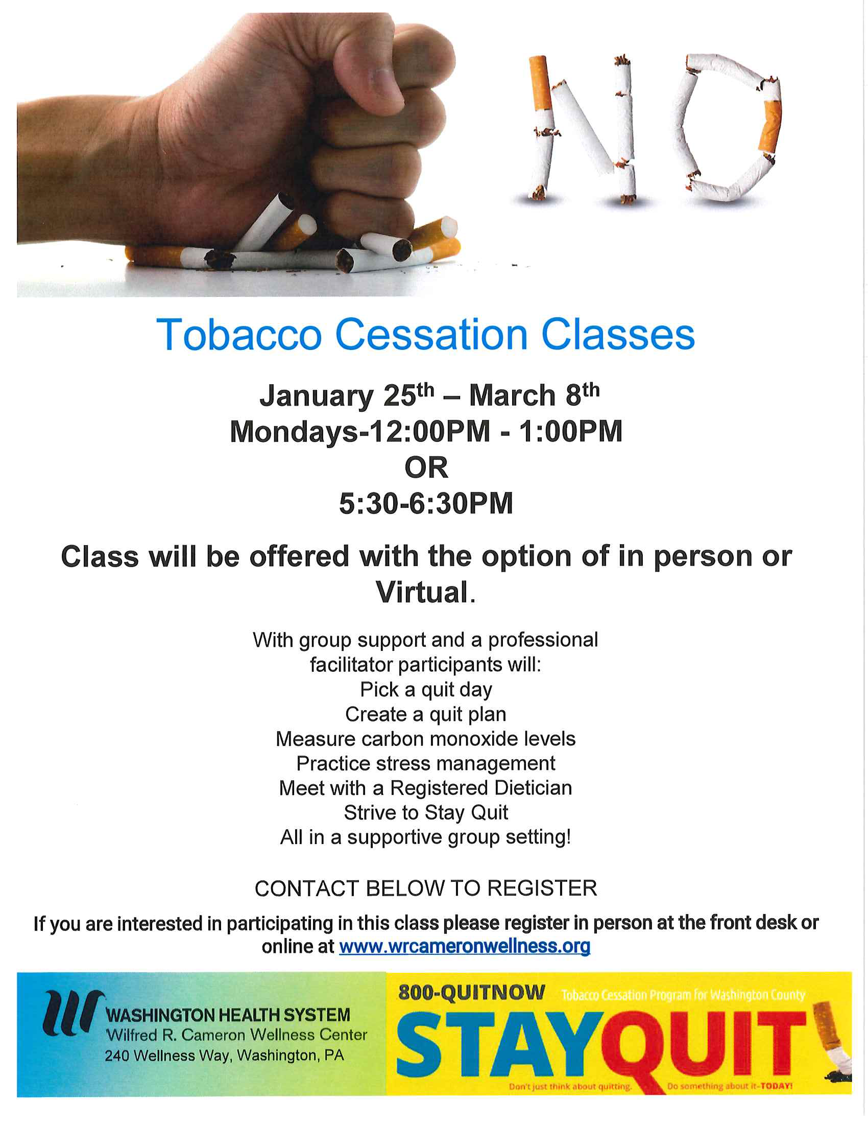 February-Smoking Cessation Classes