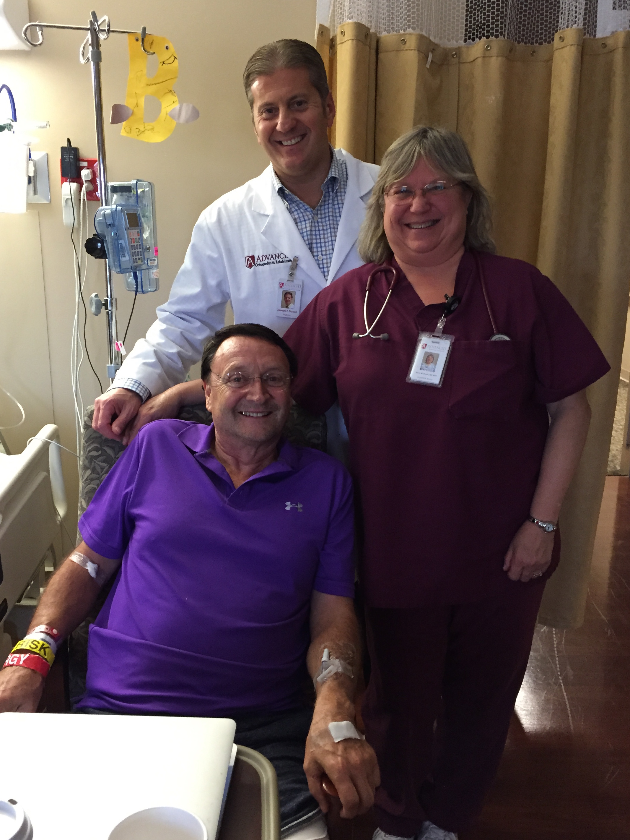 Tim, Dr. Stracci, and Nurse Joyce at Advanced Orthopedics
